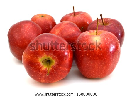 fresh red apples isolated on white background  - stock photo