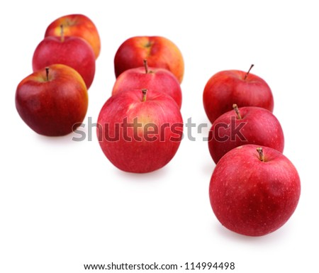fresh red apples on a white background