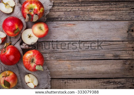 Fresh red apples on wooden background.Copy space.selective focus. - stock photo