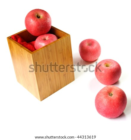 Fresh red apples over white