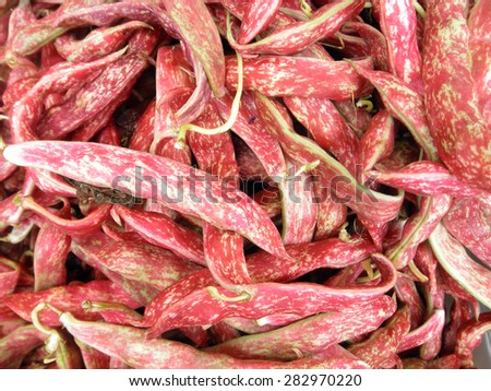 Fresh Red Beans Background at Farmers Market. - stock photo