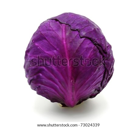 fresh red cabbage on a white background - stock photo