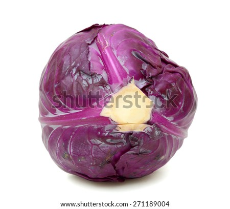 fresh red cabbage on white background - stock photo