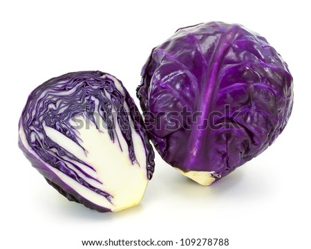 Fresh red cabbage vegetable on white background - stock photo