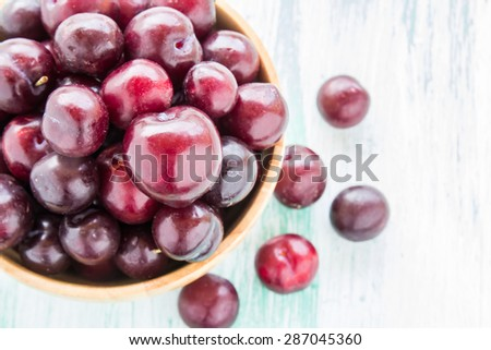 Fresh red Cherries in wooden bowl on wooden table background