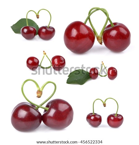 Fresh red cherries isolated on white background