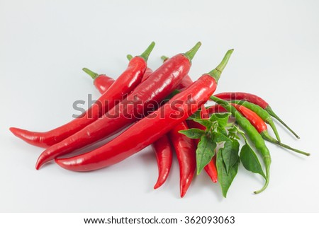 Fresh red chili isolated on white background