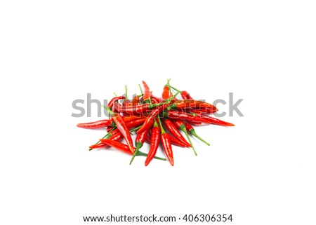 Fresh red chili pepper isolated on a white background  - stock photo