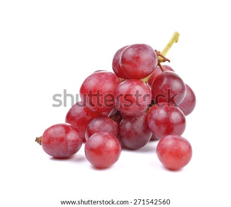 Fresh red grape on white background - stock photo