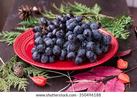 fresh red grapes and fir branch with Christmas decorations - stock photo