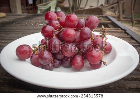 Fresh red grapes , Bunch of red grapes - stock photo