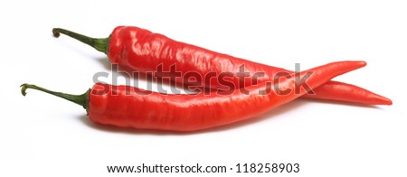 Fresh red hot chili peppers isolated on a white background