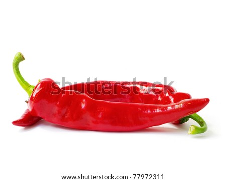 fresh red hot pepper on a white - stock photo