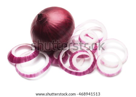Fresh red onion isolated on white background