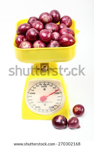 Fresh red onion isolated on white background. according to the product by onions, health campaigns, restaurants, grocery stores selling fresh produce and products based on onions - stock photo