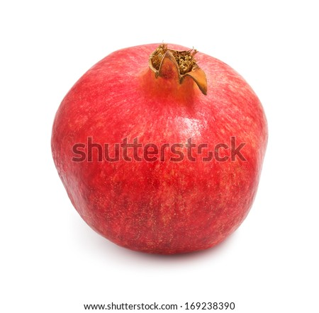 Fresh red pomegranate isolated on white background