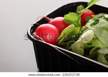 Fresh red radish with green leafy tops in black plastic container on grey background.