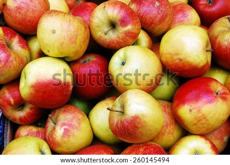 Fresh red ripe apples background in the daylight. - stock photo