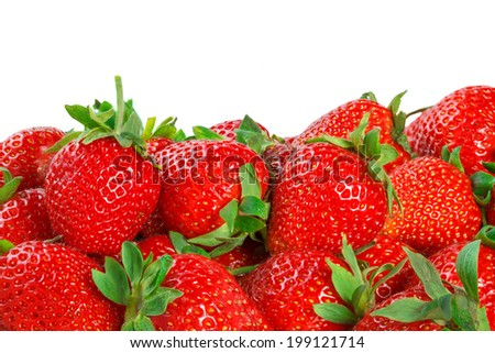 Fresh red ripe strawberries isolated on white  - stock photo