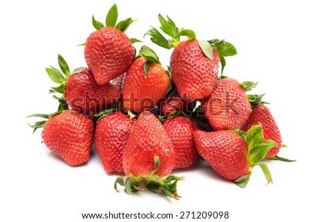 Fresh red ripe strawberries isolated on white - stock photo