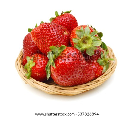 Fresh red ripe strawberry isolated in basket on white, macro image