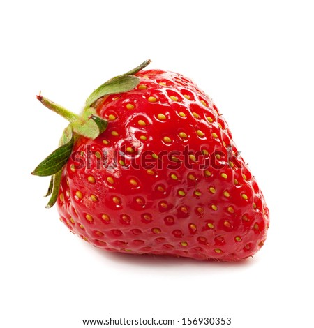 Fresh red ripe strawberry isolated on white, macro image