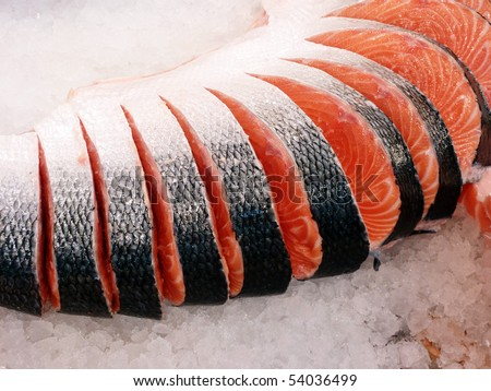fresh red salmon cut at the local market