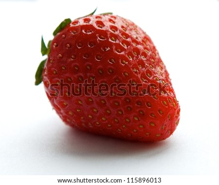 Fresh red single strawberry isolated on white background, fresh fruits, summer berry, red berry, strawberry, summer fruit, vitamins