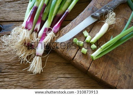 Fresh red spring onions and a kitchen knife on an old wooden cutting board