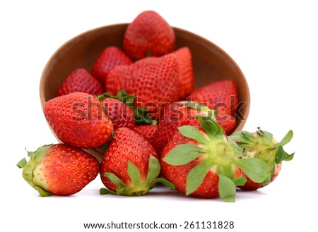 fresh red strawberries in bowl isolated on white  - stock photo