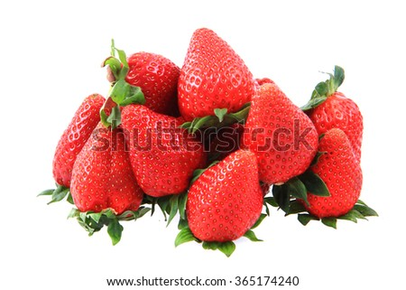 fresh red strawberries isolated on the white background - stock photo