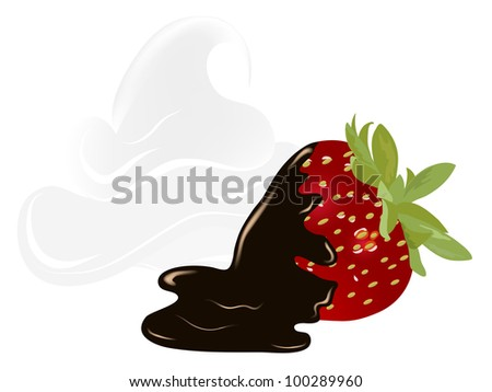 Fresh red strawberry with chocolate and whipped cream