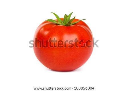 Fresh red tomato isolated on a white background - stock photo