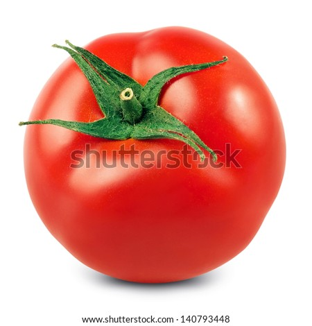 fresh red tomato isolated on white background - stock photo