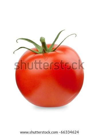 Fresh red tomato. Isolated on white background - stock photo