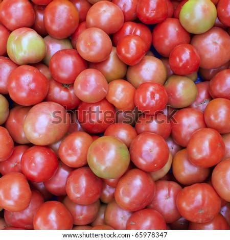 fresh red tomatoes closeup, background - stock photo