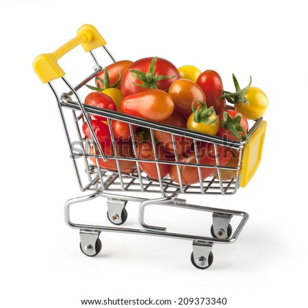 Fresh red tomatoes in a basket on a white background. with clipping path