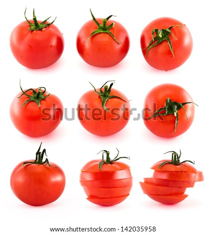 Fresh red tomatoes isolated over white background, set of nine - stock photo