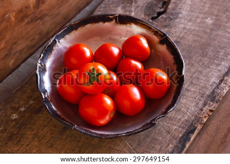 Fresh Red Tomatoes on Wooden Background, Top View. - stock photo