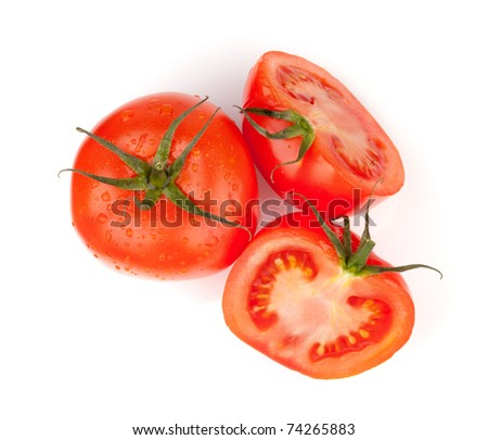 Fresh red tomatoes with water drops. Isolated on white background - stock photo