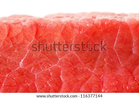 Fresh red uncooked meat close-up isolated on white background. - stock photo
