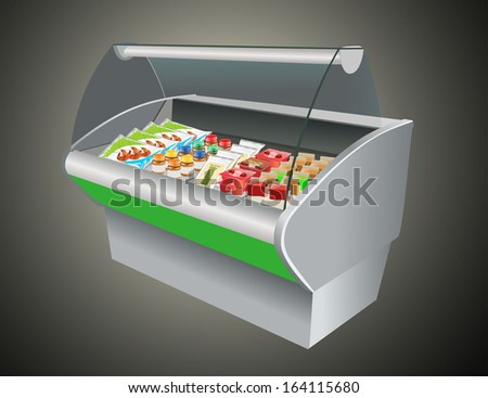 Fresh refrigerated in refrigerator in a shop - stock photo