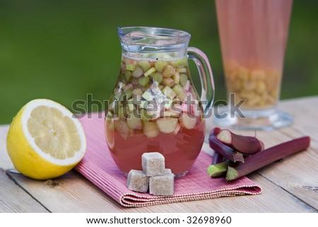 fresh rhubarb compote - stock photo