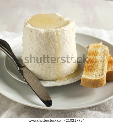 Fresh ricotta cheese with honey and toasts - stock photo