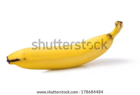 fresh ripe banana isolated on white background - stock photo