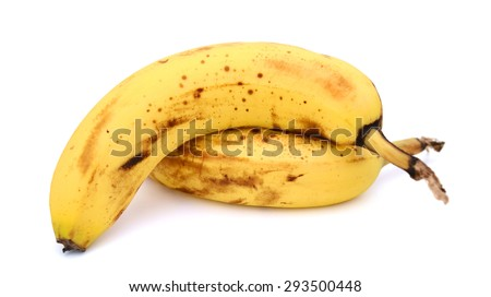 fresh ripe banana on white background  - stock photo