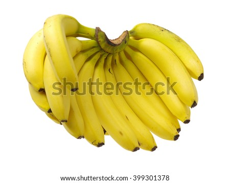 Fresh ripe bananas on white background  - stock photo