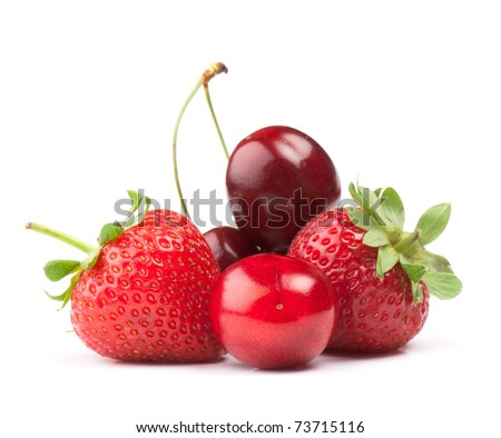 fresh ripe Berries photographed closeup isolated on a white background. - stock photo