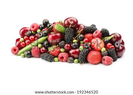 fresh ripe berries photographed closeup on a white isolated background. - stock photo
