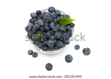 Fresh ripe blueberries closeup on a white background. horizontal photo.